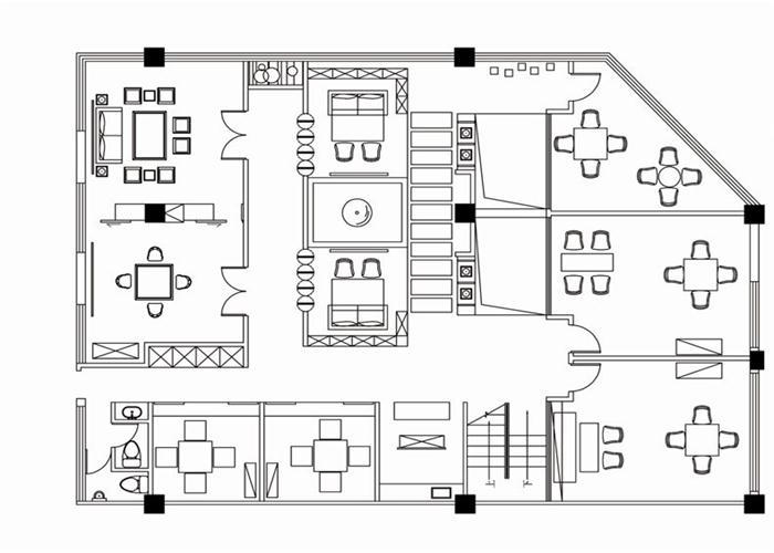 茶室设计图平面图手绘