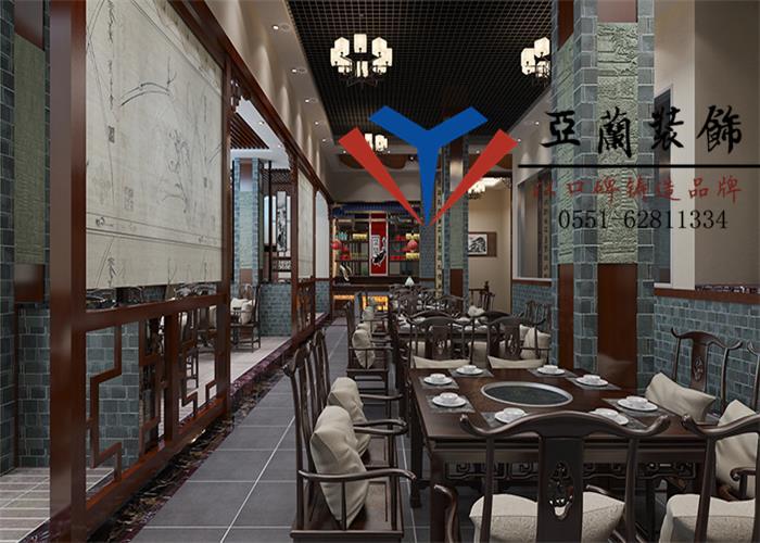中式古典风火锅店的装修,选用复古色调搭配棕褐色的实木图片