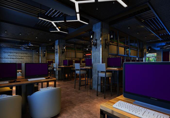 沟设计,以光带低调分野着场域属性,一旁搭配柱子上的挂壁式工业风灯具图片